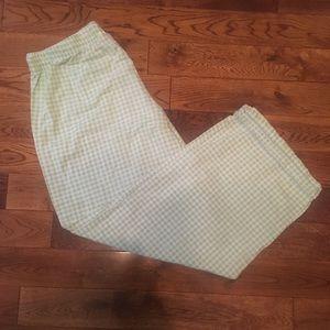 Tommy Hilfiger green gingham sleep pants women's L